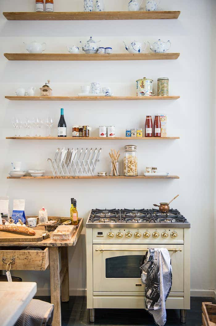 Kitchen with open, wooden shelves