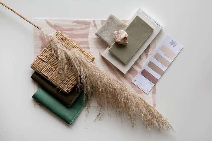 Interior design planning with natural hues and Sunbrella performance fabric