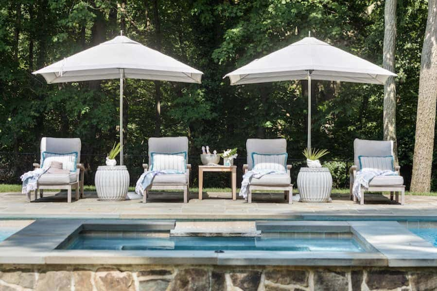 Poolside lounge chairs provide luxurious comfort, while durable fabrics prevent wear and tear from sun exposure and heavy use.