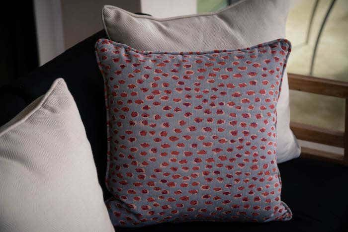 blue and red dot pillow with Sunbrella fabric