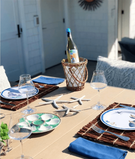 Outdoor dining table close up