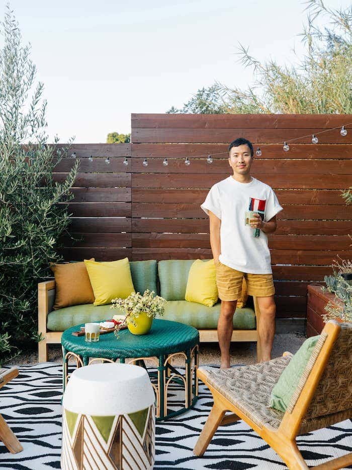 Designer Dabito shares his eclectic outdoor design, complete with a Sunbrella fabric sofa and accent decor