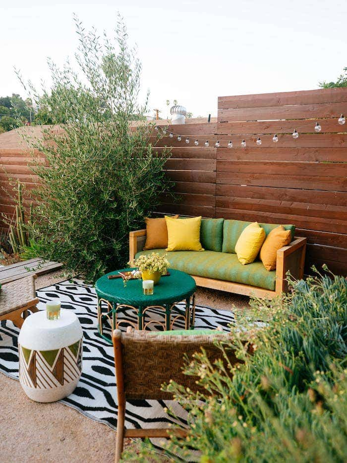 Dabito incorporates color and textural variety via fabrics and materials to complete a unique and lively outdoor design.