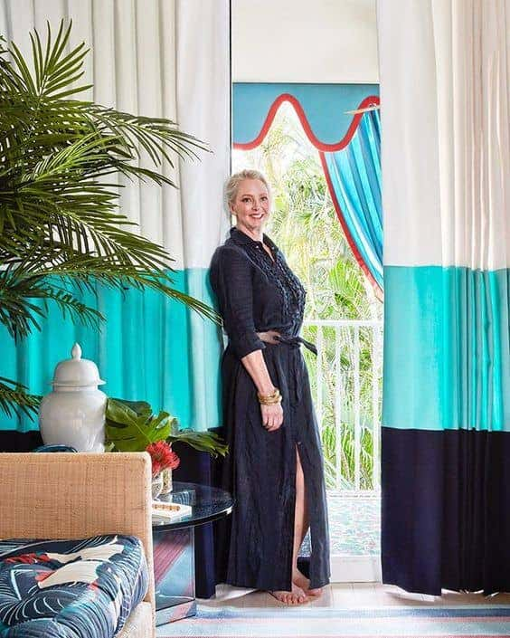 Danielle Rollins blends Sunbrella fabrics in bright colors to tie together the aesthetic in her Palm beach interiors.