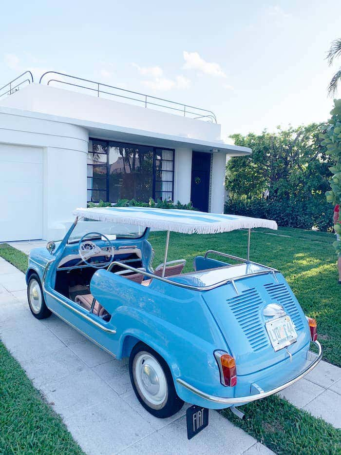 Rollins got creative with her 1970 Fiat Jolly 600, topping it off with a Sunbrella canvas in baby blue and white stripe.