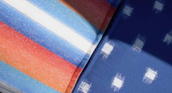 Complementing Sunbrella textile patterns and textures offer visual harmony