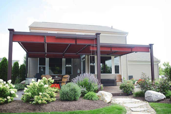 Sunbrella shade from Shadetree brings cool comfort to your outdoor patio designs.