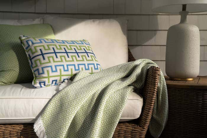Sunbrella fabrics make for durable and stylish accent decor for your patio.