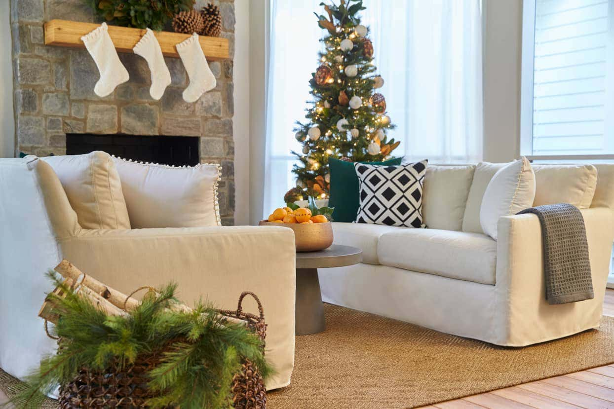 Clark used Sunbrella to keep the holiday look simple and cozy
