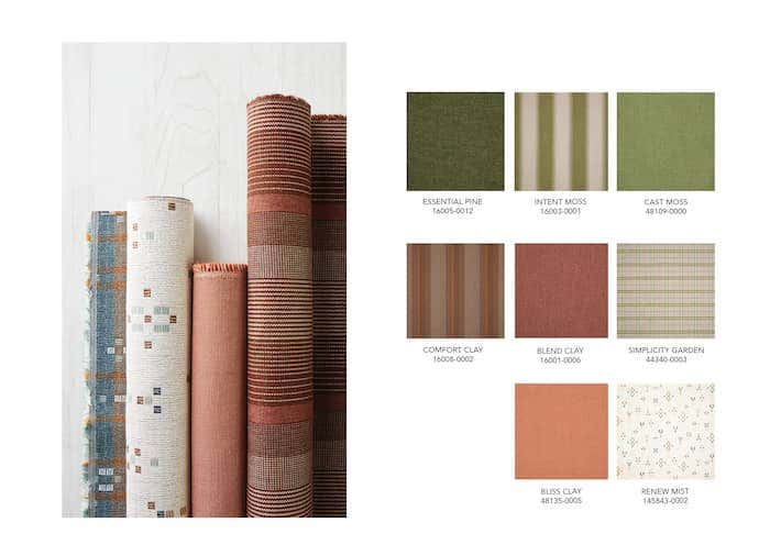 Fall color trends like mossy greens and clays are easy to incorporate into your home design with Sunbrella fabrics.