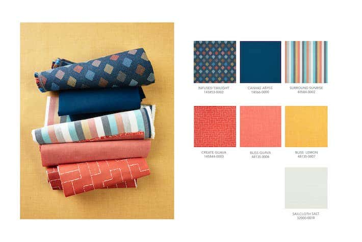 Fall 2020 color trends call for bright Sunbrella fabrics in bold patterns paired with soft pastels that level out the design.