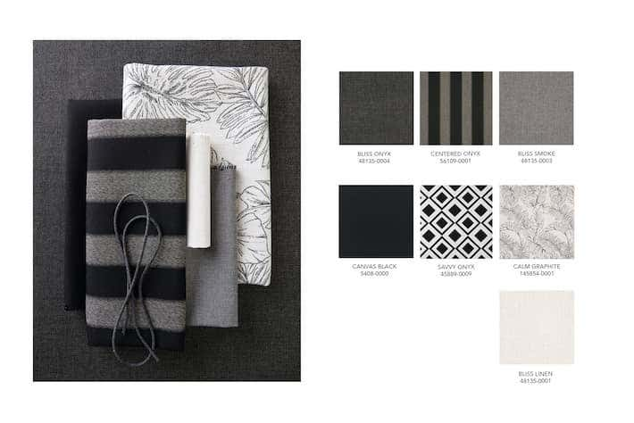 For this year's fall color trends, high contrast tones are easy to achieve with bold black and white fabrics and varied patterns from Sunbrella.
