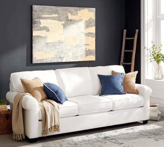 Sunbrella fabrics make this white sofa one of the best couches for kids