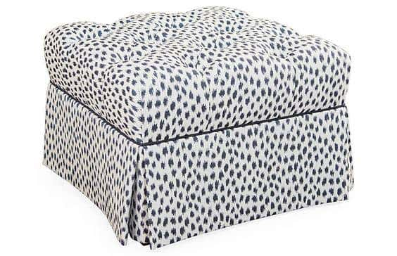 Stylish and durable Sunbrella fabrics make this ottoman top the list for best living room furniture for kids.
