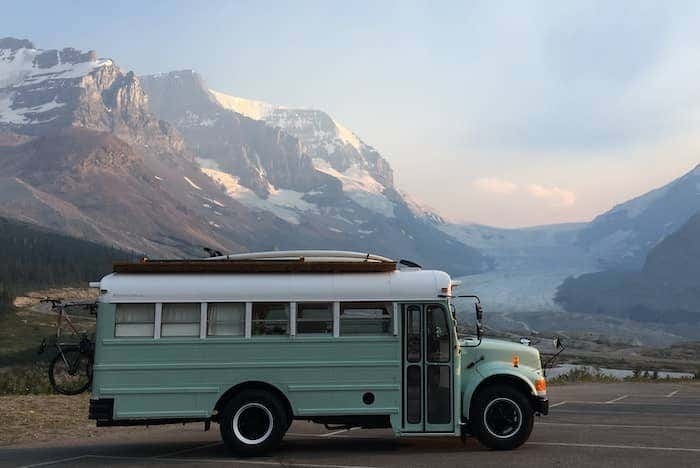Fern the Bus is a robin's egg blue fully renovated school bus that travels cross-country and doubles as a second home for the Tucker family.