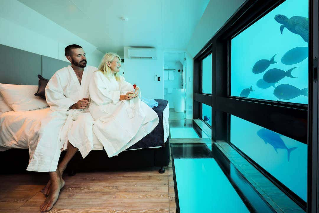 Australias first underwater hotel, Reefworld Pontoon is located on the Great Barrier Reef, offering an up-close view of breathtaking coral and aquatic life.