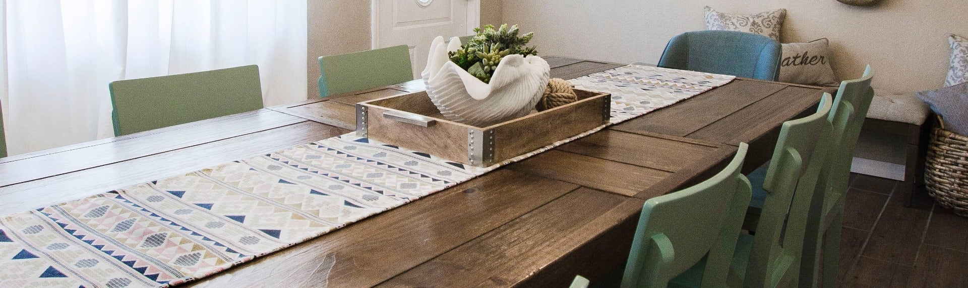 Long dining table runner in Sunbrella fabric from Haven & Harmony.