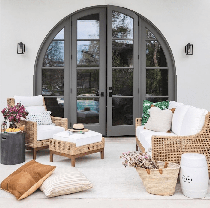 Outdoor living space with white Sunbrella outdoor upholstery fabrics