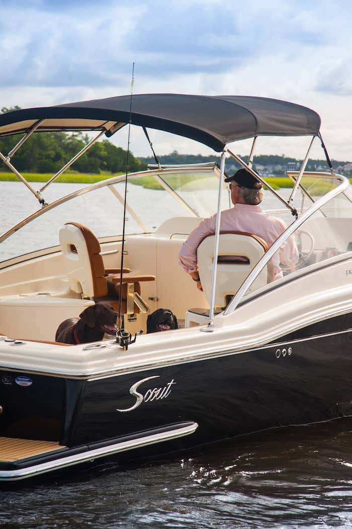 A Sunbrella fabric bimini top protects you and your loved ones from weather and direct sun exposure while you enjoy cruising on the water.