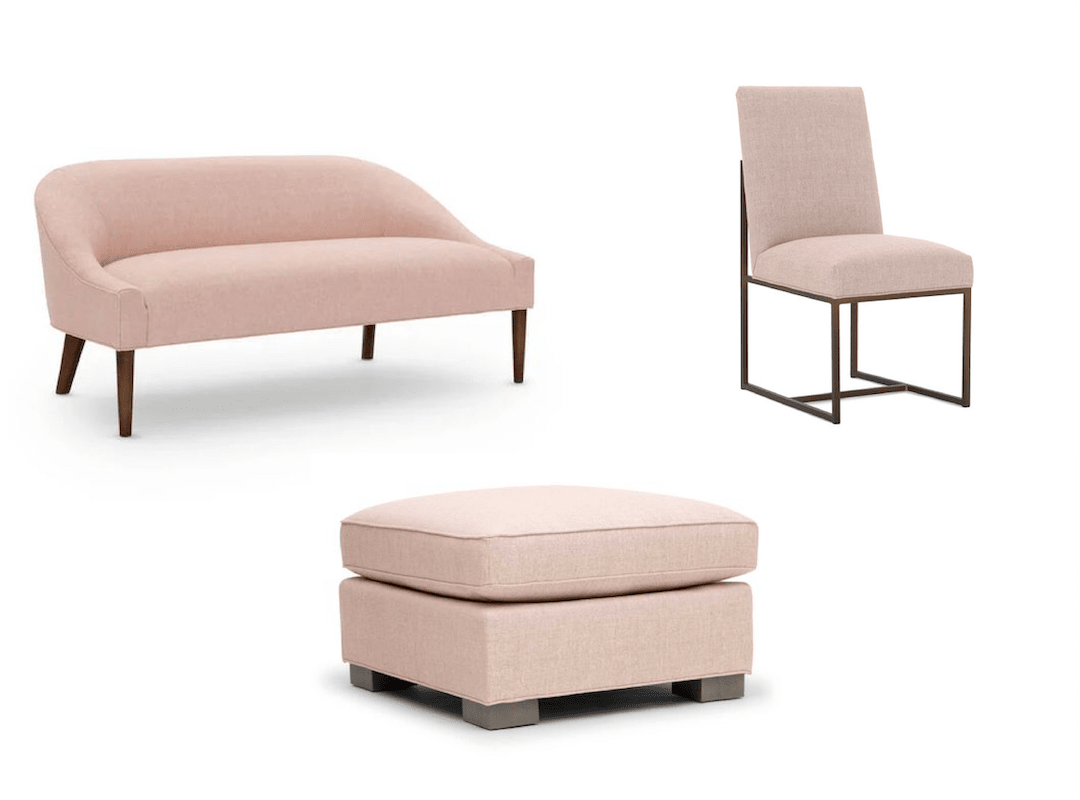 Bedroom sofa, modern dining chair and stylish ottoman in Millennial pink- a soft blush pink with beige undertones.