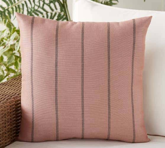 Millennial pink color throw pillow for indoor and outdoor decorating