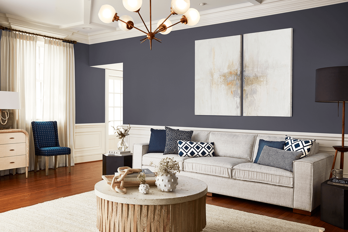 Fabrics in colors inspired by Pantone's Classic Blue help ground a room and add dimension at the same time.