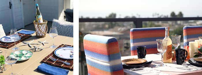 Sunbrella upholstered seating in a gradient fabric of white, blue, red, and orange create a look reminiscent of a summer sunset.