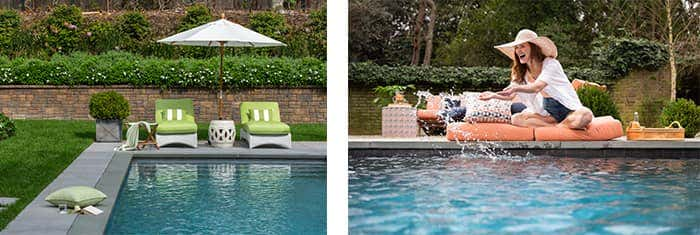 Waterproof and mold and mildew resistant fabrics are perfect for entertaining by your pool.