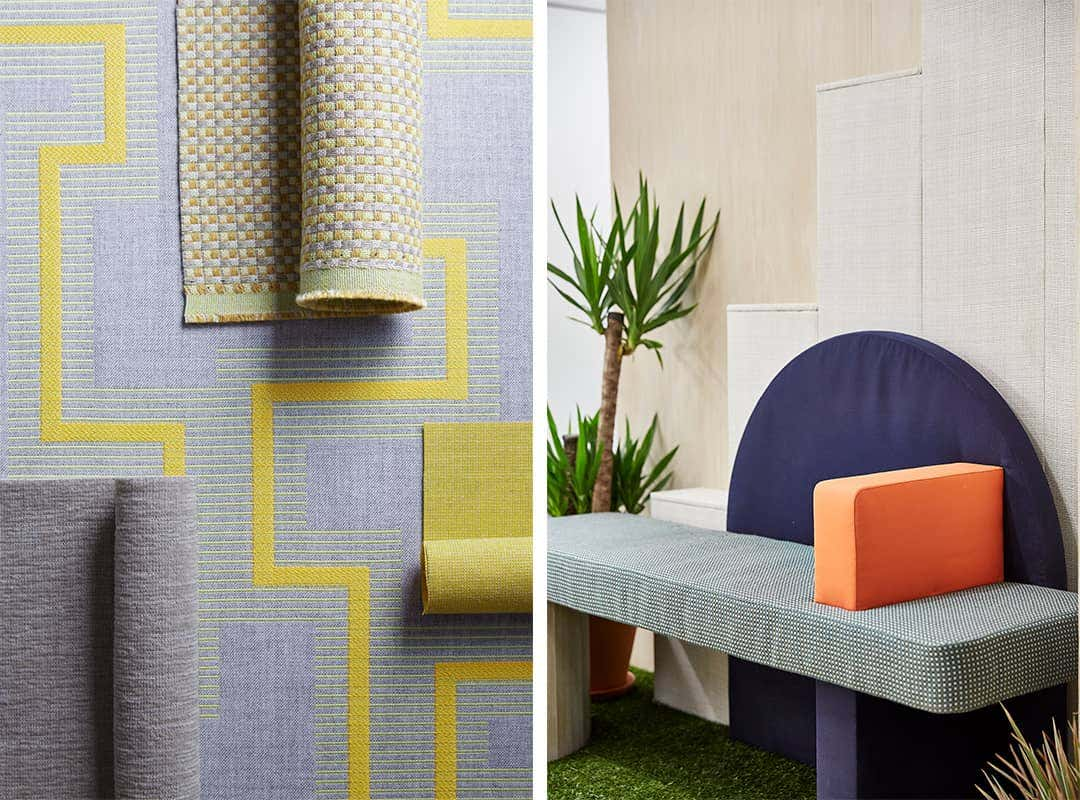 Layers of fabric from the Sunbrella Dimension Collection in colors Smoke and Citronelle