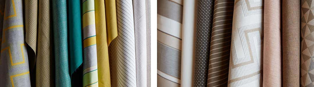 The Sunbrella Dimension collection, ranging from bold colors to subdued neutral tones.