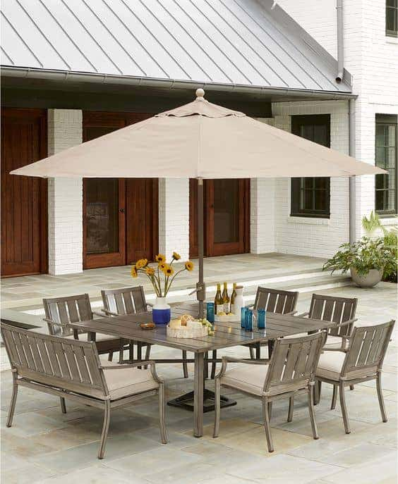 This neutral outdoor patio furniture set is both stylish and durable.