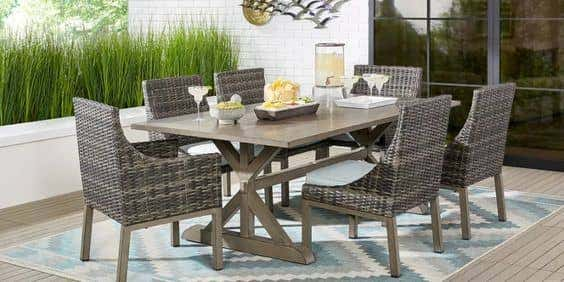 The best outdoor patio furniture for your home combines beauty and function, like this dining set from Rooms to Go.