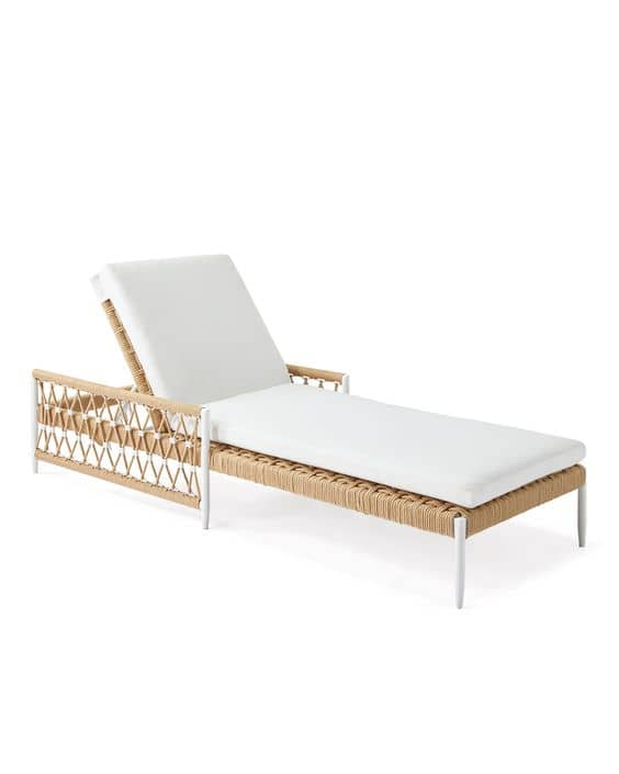 A comfortable outdoor Sunbrella chaise lounge chair is the perfect place to unwind outdoors.