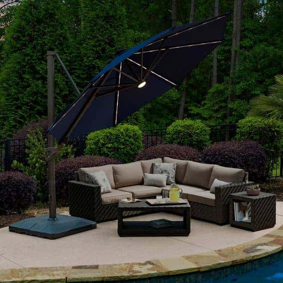 Who says patio umbrellas can't be high-tech? This one comes with solar-powered LED lights to illuminate your evening.