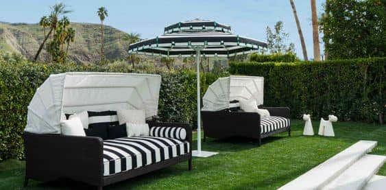 Sunbrella patio umbrellas from Santa Barbara Designs are stylish and customizable.