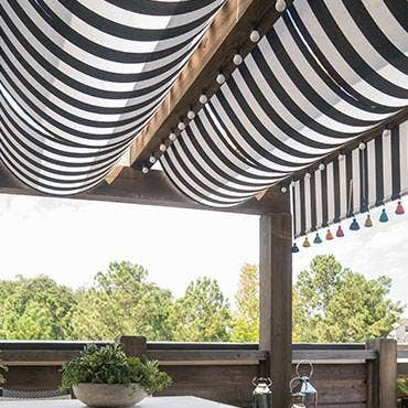 Black and white striped outdoor shades