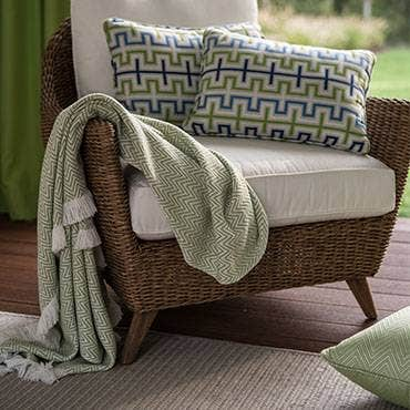 Sunbrella pillows and throw blanked on chair