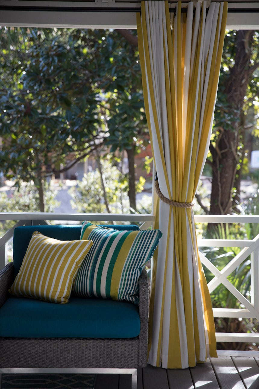 striped window treatment