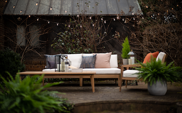Outdoor living area showcasing Sunbrella fabric