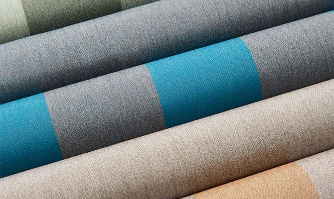 Closeup of grey and blue Shade fabric