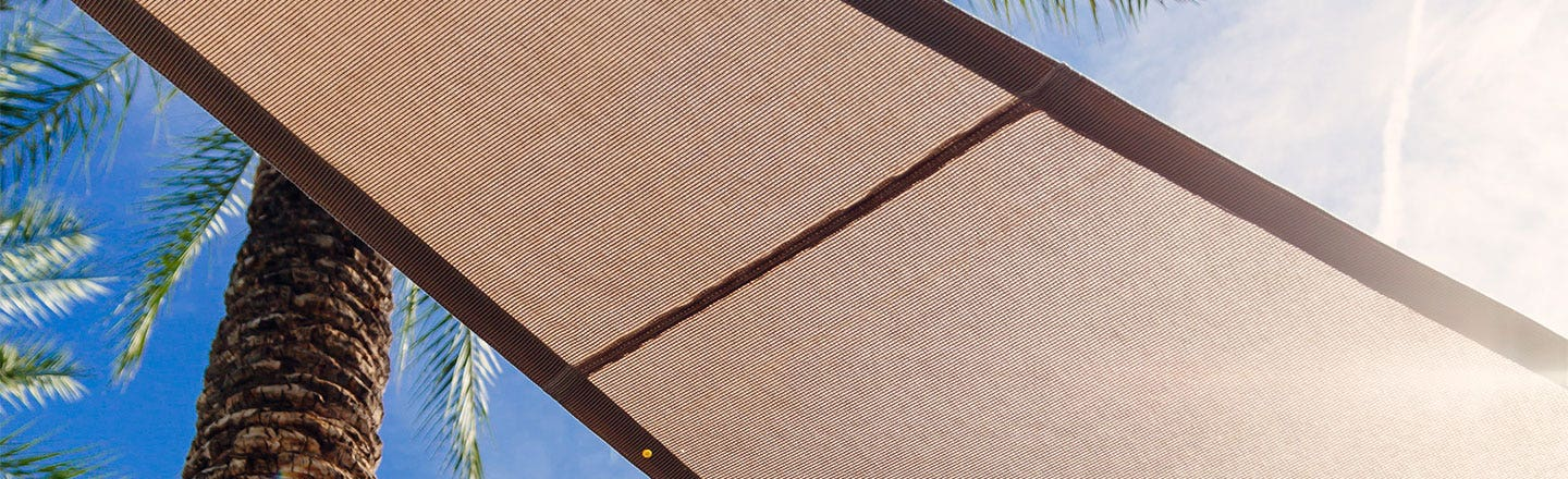 Brown Contour fabric blocking the sun