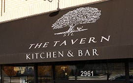 tavern with brown awning with tree illustration