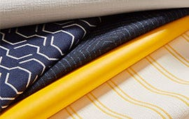 yellow white and blue patterned fabrics