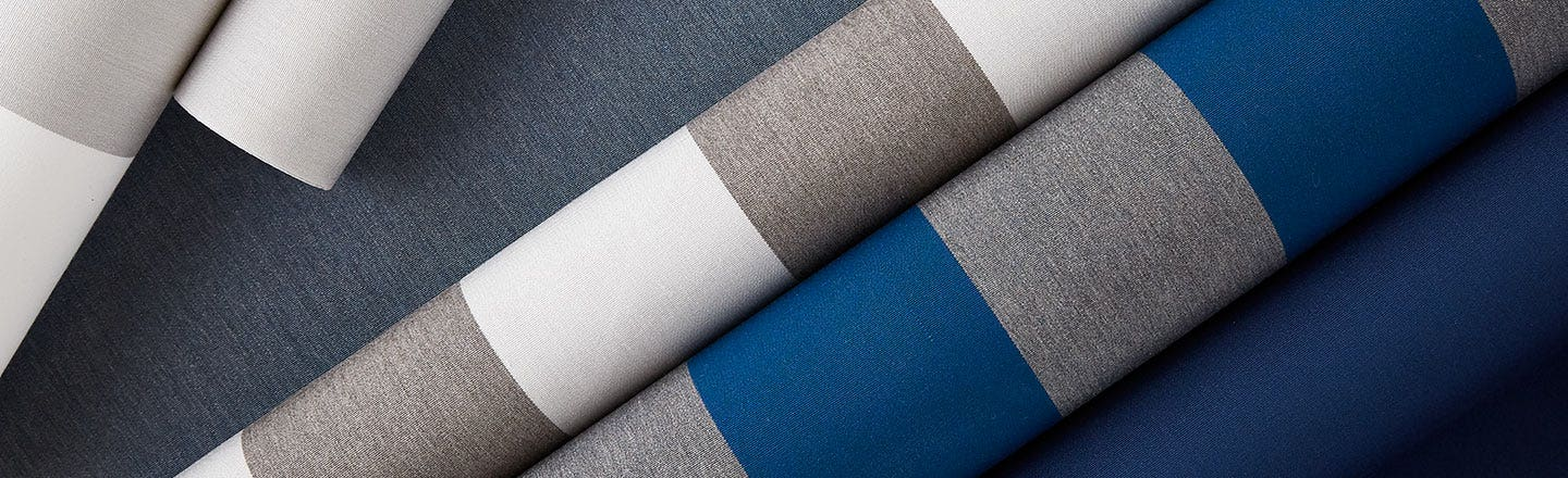 Gray striped blue and white fabric