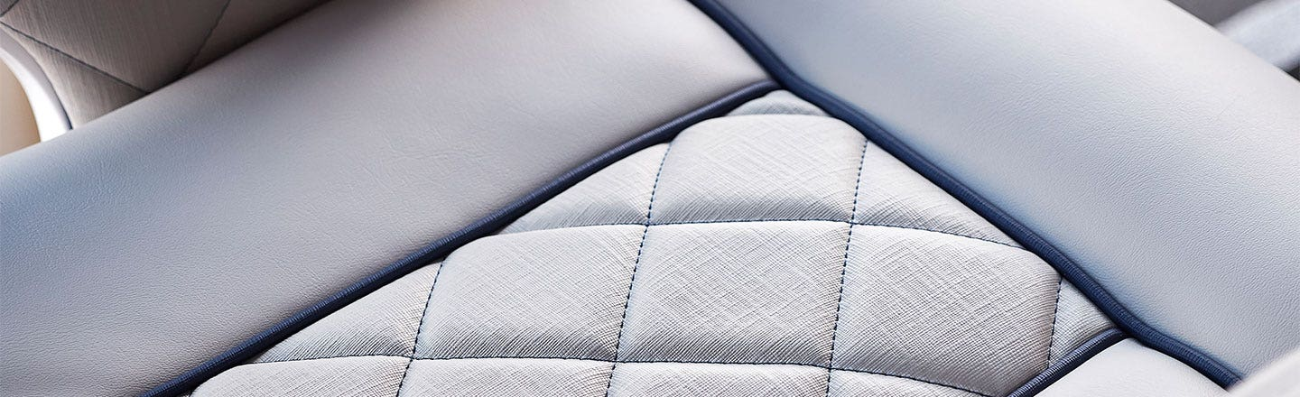 Quilted gray upholstery fabric