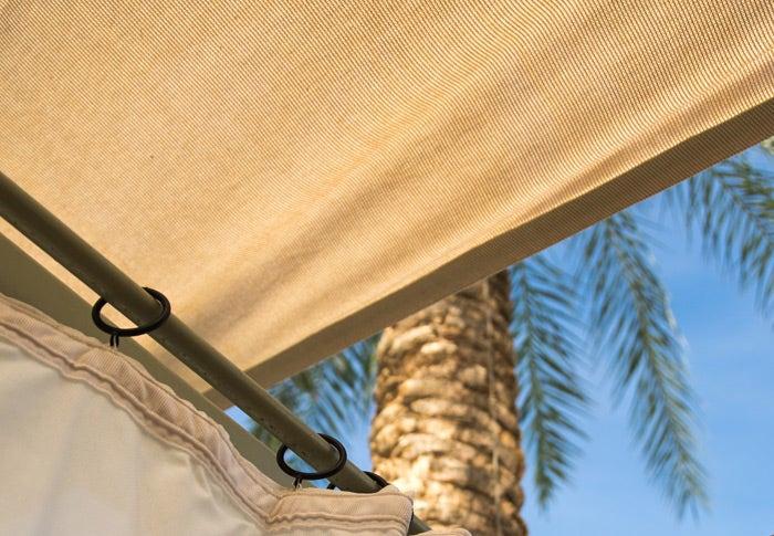 Navy Sunbrella Canvas boat top covering a boat