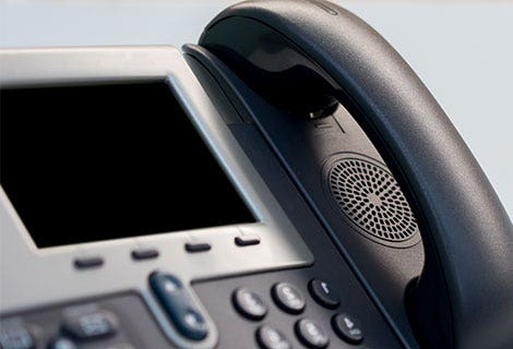 closeup of conference telephone