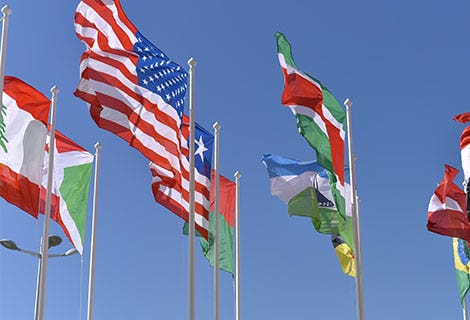 various country flags waving in blue sky