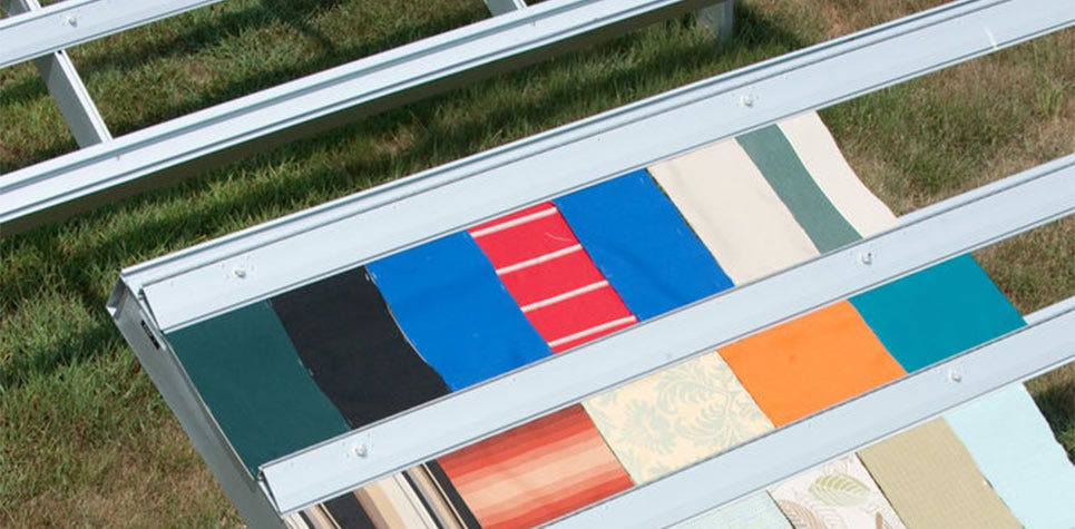 Fabric swatches in the sun