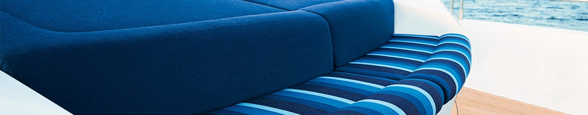 Blue canvas fabric on boat couch